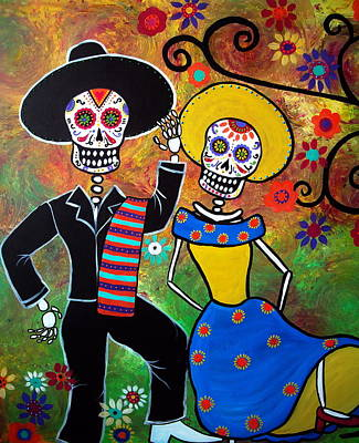 Mexican Town Painting - Day Of The Dead Bailar by Pristine Cartera Turkus