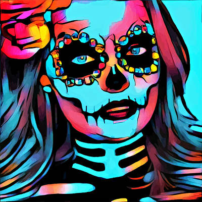 Mixed Media - Day Of The Dead Beautiful Skull Girl Abstract Art by Elizavella Bowers
