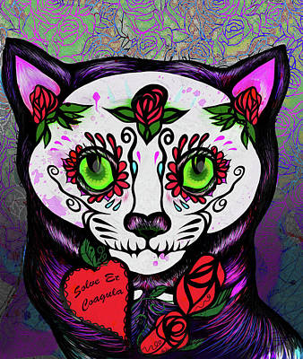 Digital Art - Day Of The Dead Cat by AC Williams