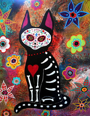 Day Of The Dead Cat El Gato Art Print
