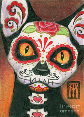 Day Of The Dead Cat Original by Melissa A Benson