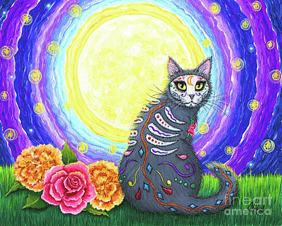 Painting - Day Of The Dead Cat Moon - Dia De Los Muertos Gato  by Carrie Hawks