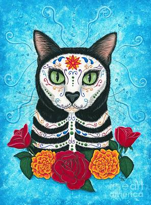 Painting - Day Of The Dead Cat - Sugar Skull Cat by Carrie Hawks