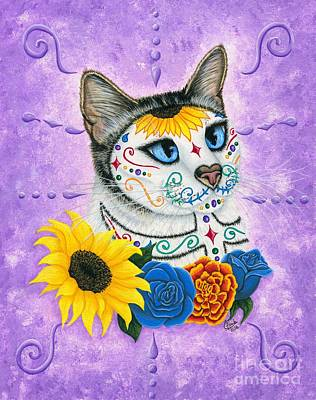 Painting - Day Of The Dead Cat Sunflowers - Sugar Skull Cat by Carrie Hawks