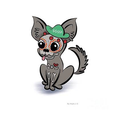 Funny Dog Digital Art - Day Of The Dead Chihuahua by Kayla Jimenez