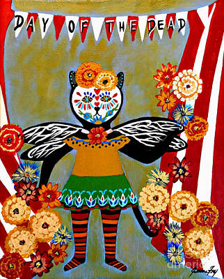 Painting - Day Of The Dead Circus Kitty by Jean Fry