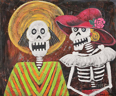 Chicano Art Mixed Media - Day Of The Dead Couple by Sonia Flores Ruiz