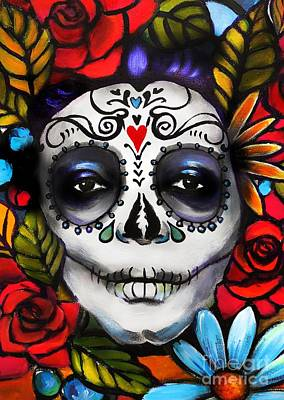 Rose And Skull Painting - Day Of The Dead by E Bradshaw
