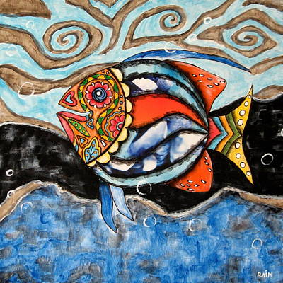 Rain Ririn Painting - Day Of The Dead Fish by Rain Ririn