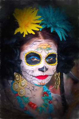 Photograph - Day Of The Dead Flower Lady by Robin Zygelman