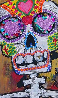 Cardboard Mixed Media - Day Of The Dead Skeleton  by Nancy Mitchell