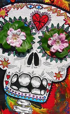 Day Of The Dead Skeleton With Flowers And Stars Art Print