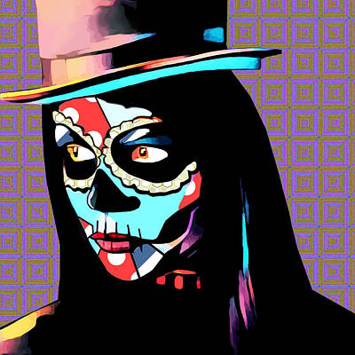 Day Of The Dead Skull Woman Wearing Top Hat Art Print