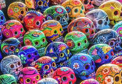 Aztec Pottery Photograph - Day Of The Dead Skulls by David Litman