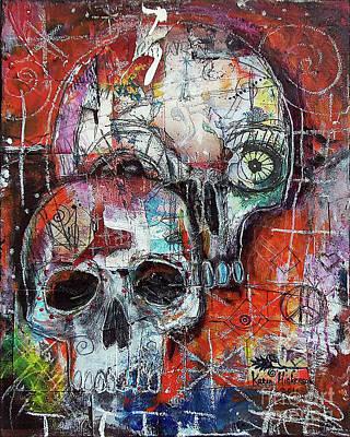 Grunge Skull Painting - Day Of The Dead Sugar Skulls by Karen Hickerson
