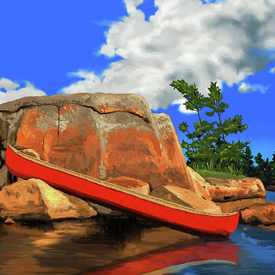 Canoe Digital Art - Day Tripping by David Loblaw