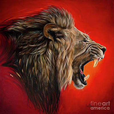 Lion Of Judah Painting - Day3 / Victory by Ilse Kleyn