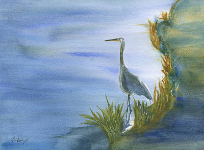 Daybreak With A Great Blue Heron  Art Print
