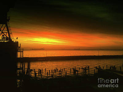 Orange Photograph - Daybreak At The Waterfront - The Golden Hour by Scott Cameron