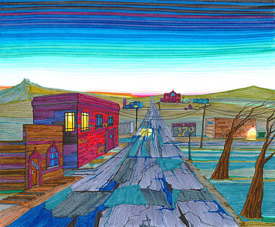 North Dakota Wall Art - Drawing - Daybreak In Mckenzie County by Scott Kirby