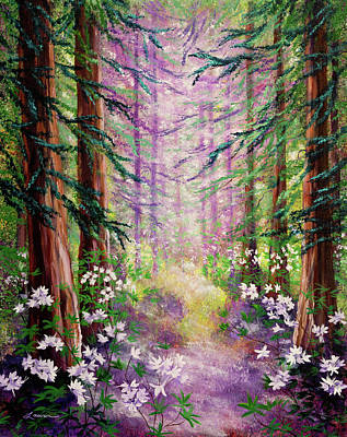 Redwoods Painting - Daybreak In Springtime Redwood Trees by Laura Iverson