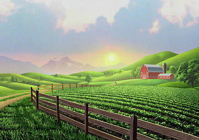 Barn Digital Art - Daybreak by Jerry LoFaro