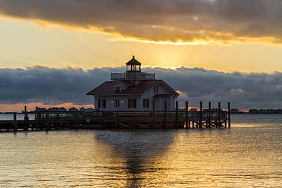 Photograph - Daybreak Over Roanoke Marshes Lighthouse by Liza Eckardt