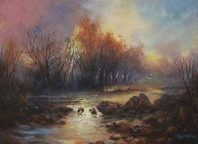 Nature Study Painting - Daybreak Willow Creek by Tom Shropshire