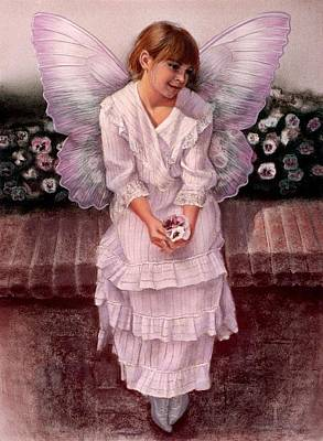 Pansy Painting - Daydreaming Fairy Girl by Sue Halstenberg