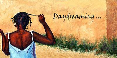Of A Haitian Woman Painting - Daydreaming In Haiti by Janet King