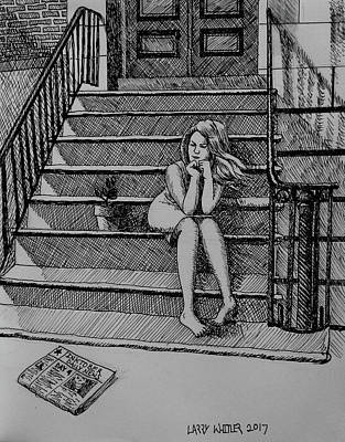 Drawing - Daydreaming On The Stoop by Larry Whitler