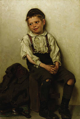 Tear Painting - Daydreaming - The Shoe Shine Boy by John George Brown
