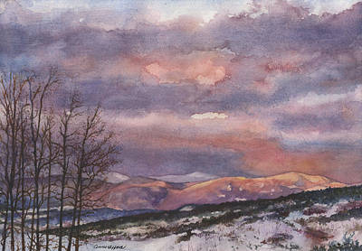 Snow Capped Painting - Daylight's Last Blush by Anne Gifford