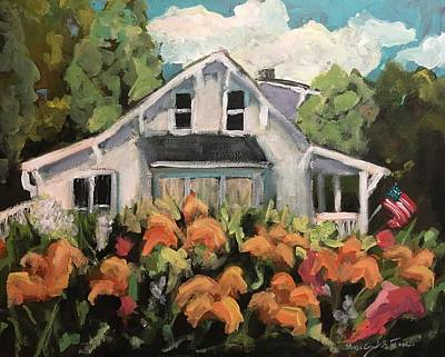Painting - Daylilies At Windy Acre Cottage On Memorial Day by Susan Elizabeth Jones