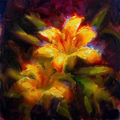 Tiger Lily Painting - Daylily Sunshine - Colorful Tiger Lily/orange Day-lily Floral Still Life  by Karen Whitworth