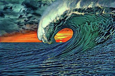 San Diego Digital Art - Day's End At Windansea Beach by Russ Harris