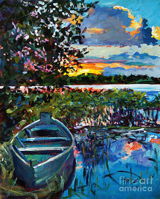Rowboat Painting - Days End by David Lloyd Glover