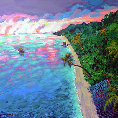 Wall Art - Painting - Days End Fiji Islands by Charles Wallis