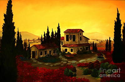 Tuscan Sunset Painting - Day's End Of Tuscany by Jeff Maurer