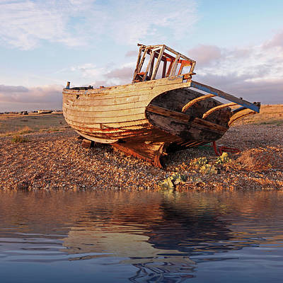 Photograph - Day's End - Reflections Of An Abandoned Fishing Boat by Gill Billington