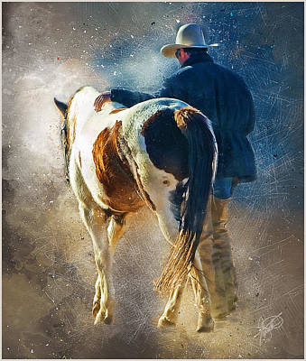 Working Cowboy Mixed Media - Days End by Tom Schmidt