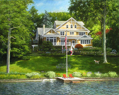 Flagpole Painting - Days In Mountain Lakes by David Henderson