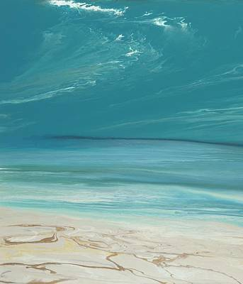 Abstract Seascape Painting - Days Of Summer- Vertical-green by KImberly Conrad