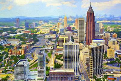 Daytime Mixed Media - Daytime Atlanta, Impasto Painting by Garland Johnson