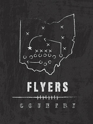 Flyers Digital Art - Dayton Flyers / Ncaa College Football Art / Ohio by Damon Gray