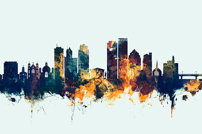 Digital Art - Dayton Ohio Skyline by Michael Tompsett