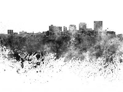 Ohio Painting - Dayton Skyline In Black Watercolor On White Background by Pablo Romero