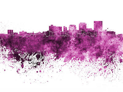 Ohio Painting - Dayton Skyline In Pink Watercolor On White Background by Pablo Romero