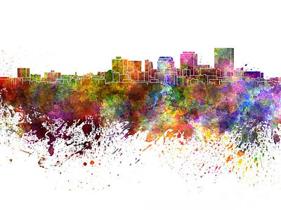 Ohio Painting - Dayton Skyline In Watercolor On White Background by Pablo Romero