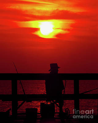 Photograph - Daytona, Beach, Atlantic, Ocean, Pier, Fishing, Sunrise, Fisherman  by Tom Jelen